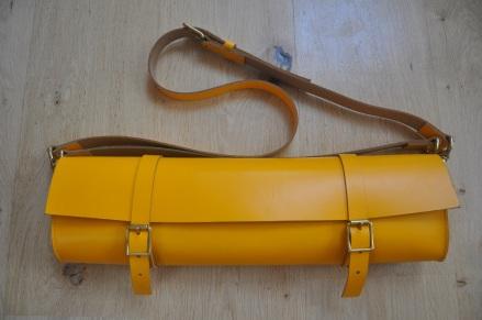 Flute case in mustard yellow